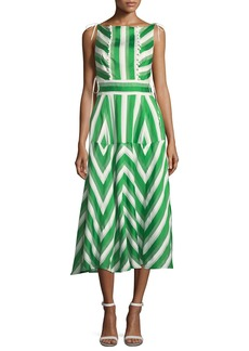 Lela Rose High-Neck Sleeveless Organza Striped Jacquard Long Dress