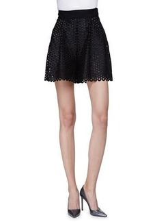 Lela Rose High-Waist Circle-Lace Shorts