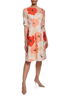 Lela Rose Holly 1/2-Sleeve Crewneck Dress
