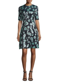 Lela Rose Holly Elbow-Sleeve Dress