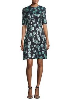 Lela Rose Holly Elbow-Sleeve Dress
