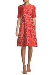 Lela Rose Holly Elbow-Sleeve Fit-and-Flare Jacquard Dress