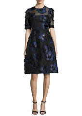 Lela Rose Holly Floral Fil Coupé Fit & Flare Dress