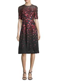 Lela Rose Holly Floral Fil Coupe Dress