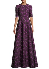 Lela Rose Holly Floral-Jacquard Elbow-Sleeve A-Line Evening Gown