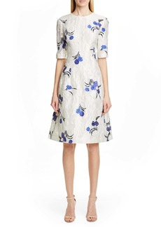 Lela Rose Holly Floral Jacquard Fit & Flare Dress