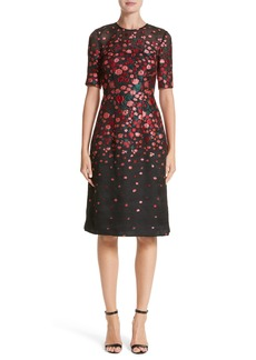 Lela Rose Holly Floral Matelassé A-Line Dress