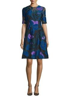 Lela Rose Holly Leaf Half-Sleeve Dress