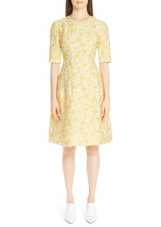 Lela Rose Holly Metallic Floral Fil Coupé Fit & Flare Dress