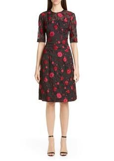Lela Rose Holly Rose Jacquard Fit & Flare Dress