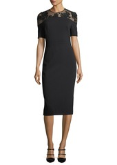 Lela Rose Illusion-Yoke Half-Sleeve Sheath Dress