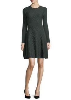 Lela Rose Jacquard Long-Sleeve Full-Skirt Dress
