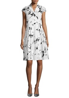 Lela Rose Jane Cap-Sleeve Floral-Print Shirtdress