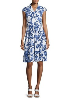 Lela Rose Jane Floral-Print Cotton Shirtdress