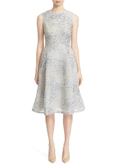 Lela Rose 'Juilet Minnow' Metallic Print Fil Coupé Fit & Flare Dress