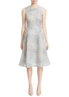 Lela Rose 'Juilet Minnow' Metallic Print Fil Coupé Fit & Flare Dress