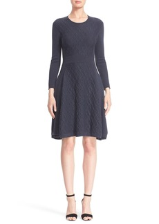 Lela Rose Knit Wool Blend Fit & Flare Dress