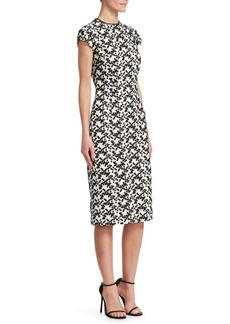 Lela Rose Lace Cap-Sleeve Sheath Dress