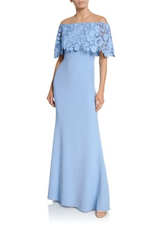 Lela Rose Lace Capelet Gown