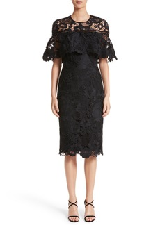 Lela Rose Lace Capelet Sheath Dress