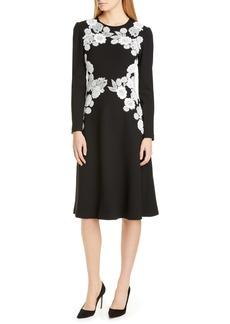 Lela Rose Lace Detail Long Sleeve Midi Dress