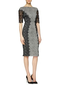 Lela Rose Lace-Detailed Speckled Dress