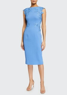 Lela Rose Lace-Embroidered Wool Crepe Sheath Dress