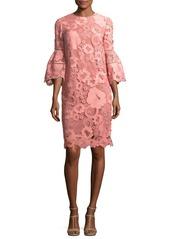 Lela Rose Lace Flounce-Sleeve Tunic Dress