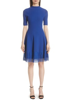 Lela Rose Lace Hem Fit & Flare Dress
