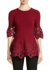 Lela Rose Lace Hem Knit Top