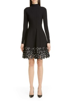 Lela Rose Lace Hem Long Sleeve Fit & Flare Sweater Dress
