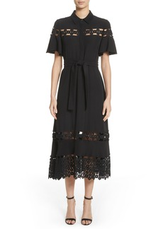 Lela Rose Lace Inset Flutter Sleeve Shirtdress