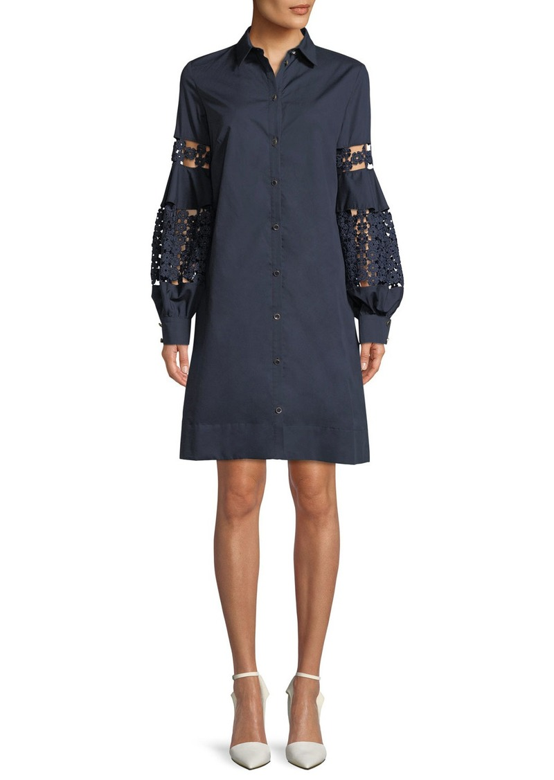 Lela Rose Lace-Inset Full-Sleeve Poplin Shirtdress
