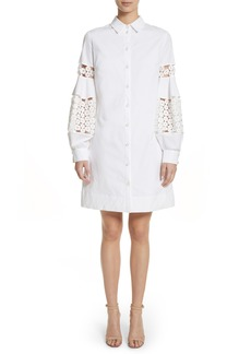 Lela Rose Lace Inset Puff Sleeve Shirtdress