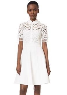 Lela Rose Lace Knit Shirtdress