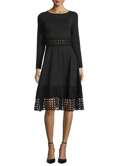Lela Rose Lace-Panel Long-Sleeve Dress