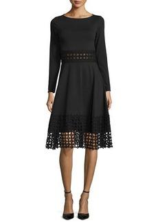 Lela Rose Lace-Panel Long-Sleeve Dress
