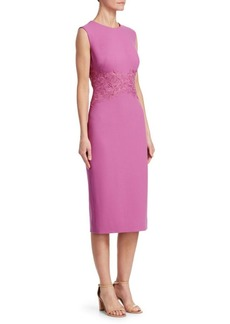 Lela Rose Lace Placement Sheath Dress