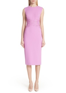 Lela Rose Lace Waist Sheath Dress