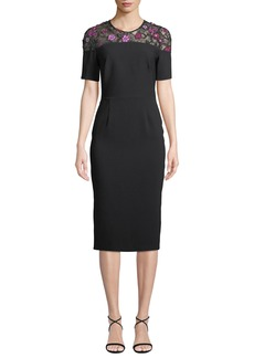 Lela Rose Lace-Yoke Short-Sleeve Fitted Sheath Cocktail Dress