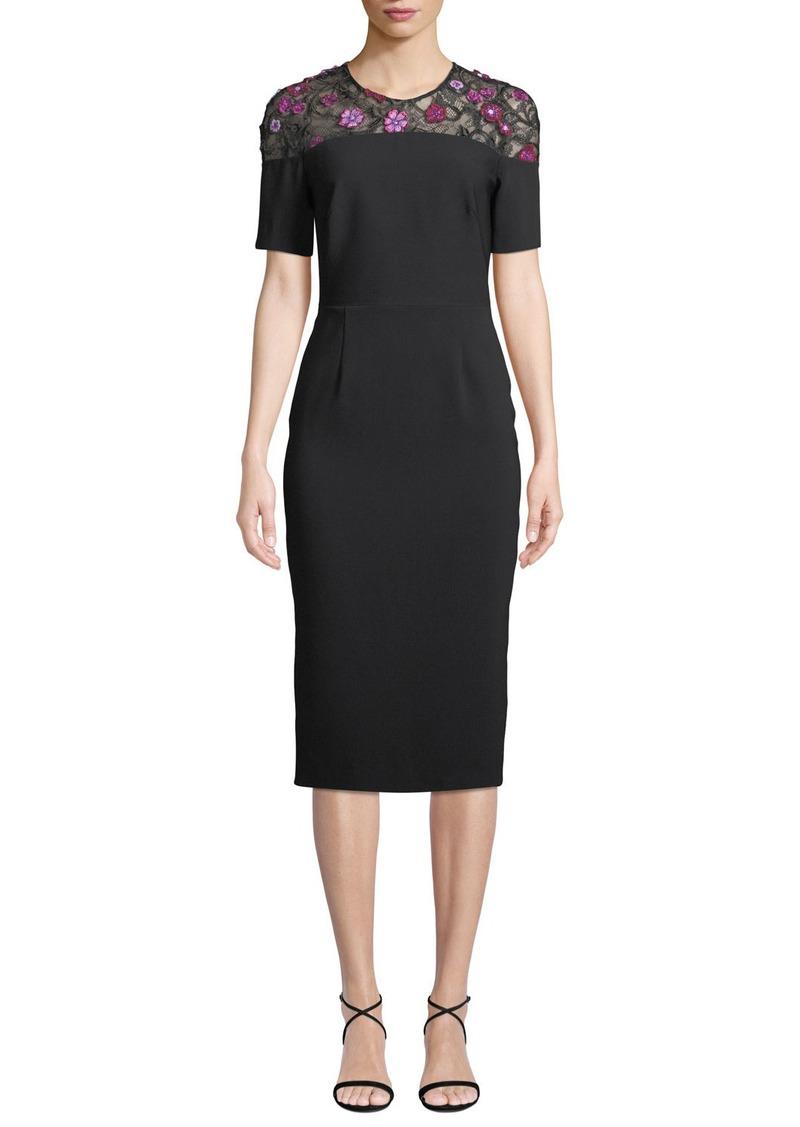 Lela Rose Lace-Yoke Short-Sleeve Fitted Sheath Cocktail Dress