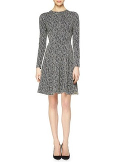 Lela Rose Lattice-Print Reversible Fit-and-Flare Dress
