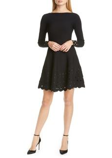 Lela Rose Lattice Trim Long Sleeve Fit & Flare Sweater Dress