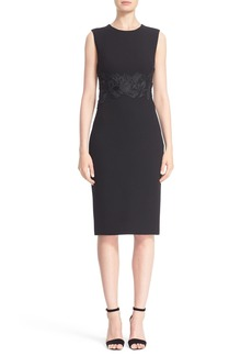 Lela Rose Leaf Embellished Stretch Wool Crepe Sheath Dress