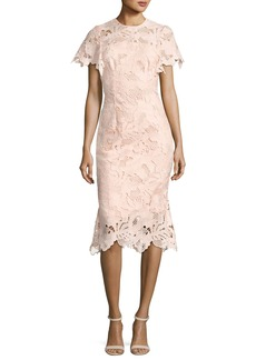 Lela Rose Leaf Guipure Lace Ruffle Dress