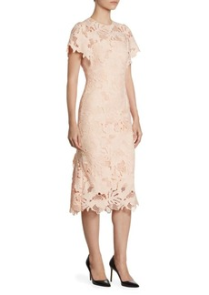 Lela Rose Leaf Lace Midi Dress