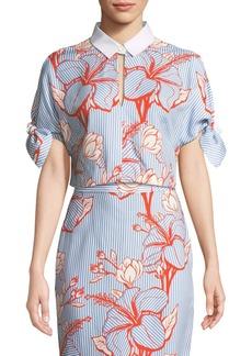Lela Rose Linear Floral-Print Crepe Tie-Sleeve Crop Top