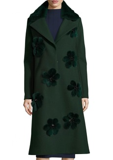 Lela Rose Long Coat with Mink Fur Flowers & Collar
