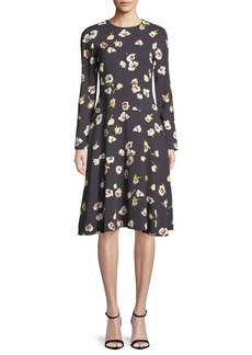 Lela Rose Long-Sleeve A-Line Floral-Print Dress