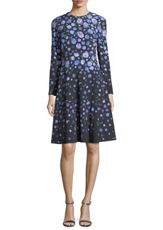 Lela Rose Long-Sleeve Degradé Floral Dress